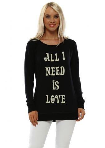 Angel Black All I Need Is Love Sweater
