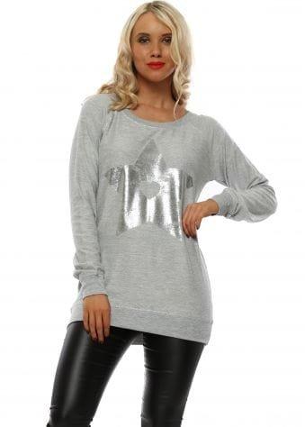 Sofia Grey Melange Foil Star Raglan Sweater