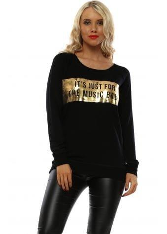 Selena Black Music Baby Foil Raglan Sweater