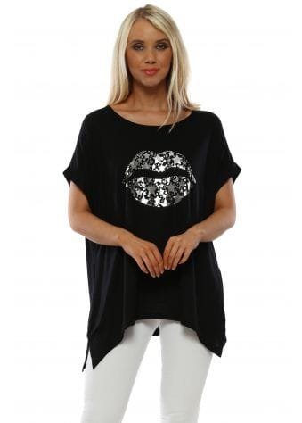Trina Black Foil Kiss Relaxed Jersey Tee