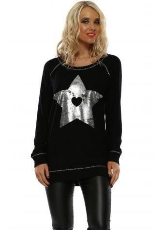 Sofia Black Foil Star Raglan Sweater