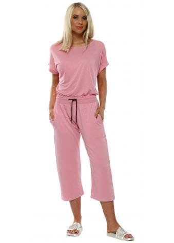 Kimmie Peach Melba Silver Stitched Cropped Joggers