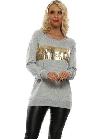 Selena Grey Melange Music Baby Foil Raglan Sweater