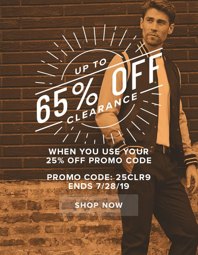 """CLEARANCE SALE! Get up to 65% off clearance when you use your 25% off code """"25CLR9"""" during checkout. Display images to learn more."""