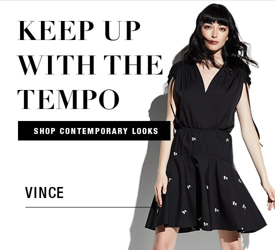 Contemporary looks from Vince, Max Studio, and Trina Turk