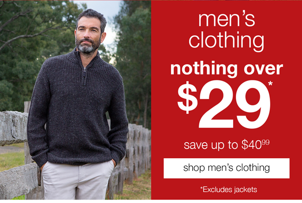 MEN'S CLOTHING NOTHING OVER $29*