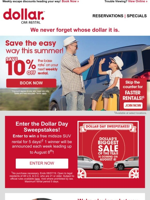 Dollar Rent-a-Car, Inc : ✔️ Dollar Day Sweepstakes is