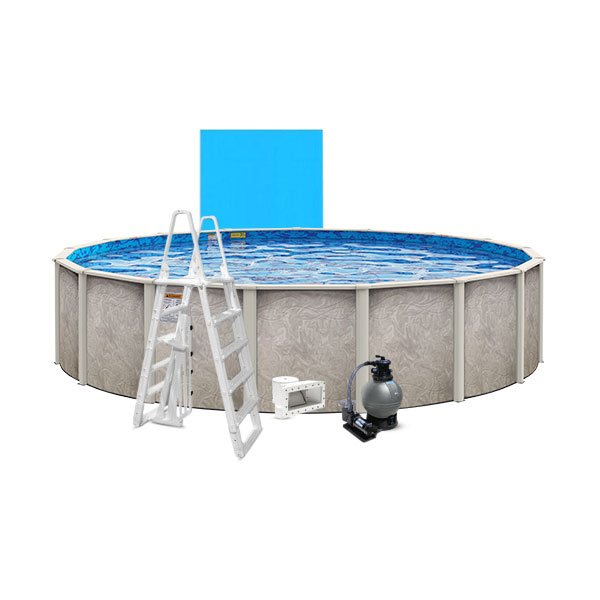 Lomart 16 x 54 Round Above Ground Swimming Pool with Blue Liner, Pump/Filter Combo, A-Frame Ladder