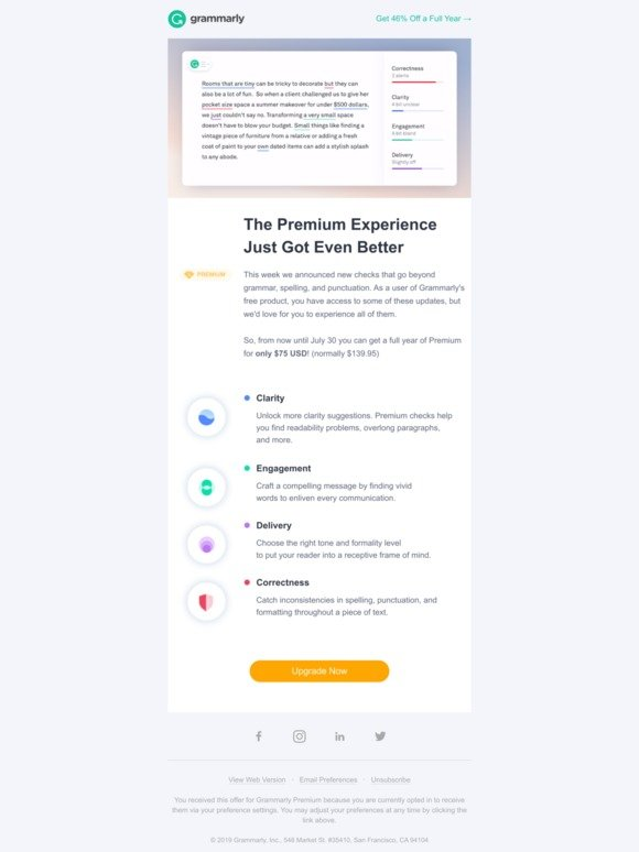Grammarly, Inc : Get one year of Premium for just $75 (hint