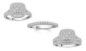 1.00 CTTW Square-Frame Diamond Bridal Ring Set in 10K White Gold