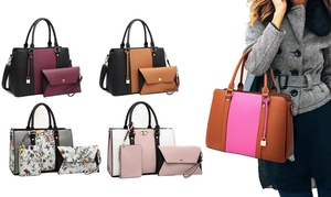 MK Belted Collection Satchel Purse with Matching Wristlet and Wallet