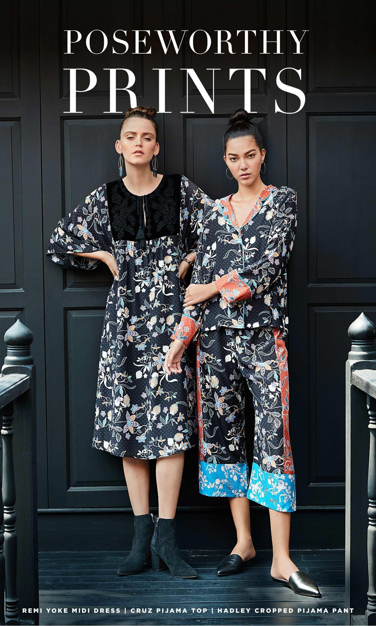 Poseworthy Prints - Remi Yoke Midi Dress   Cruz Pijama Top   Hadley Cropped Pijama Pant