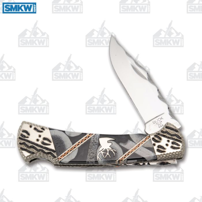 "BUCK 112 FINNEY KNIVES TRACKS LEGACY KNIFE 3"" 420 HC STAINLESS STEEL BLADE BLACK JET ELK TINE MATRIX INLAID HANDLE"