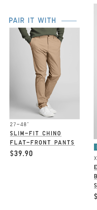 BODY4 PDP1 - MEN SLIM-FIT CHINO FLAT-FRONT PANTS
