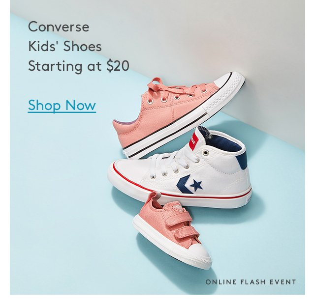 Converse | Kids' Shoes | Starting at $20 | Shop Now | Online Flash Event
