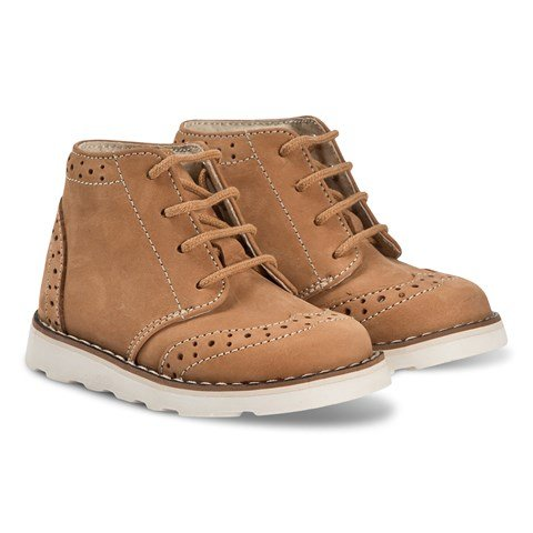 Bonpoint Tan Leather and Suede Brogue Boot