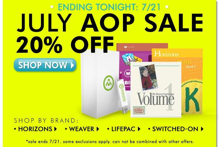 August AOP 20% off sale