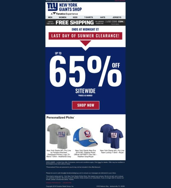 lowest price aa759 307b8 NY Giants Fan Shop: Final Day   Up to 65% Off + Free ...
