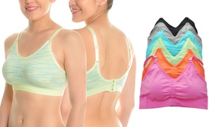 Angelina Wire-Free Seamless Sports Bras (6-Pack)