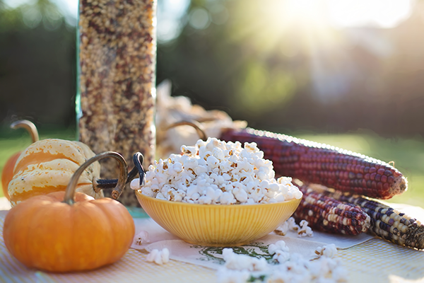 A bowl of popped popcorn in a very autumnal display. Fireworks Popcorn is available on WisconsinMade Artisan Collective