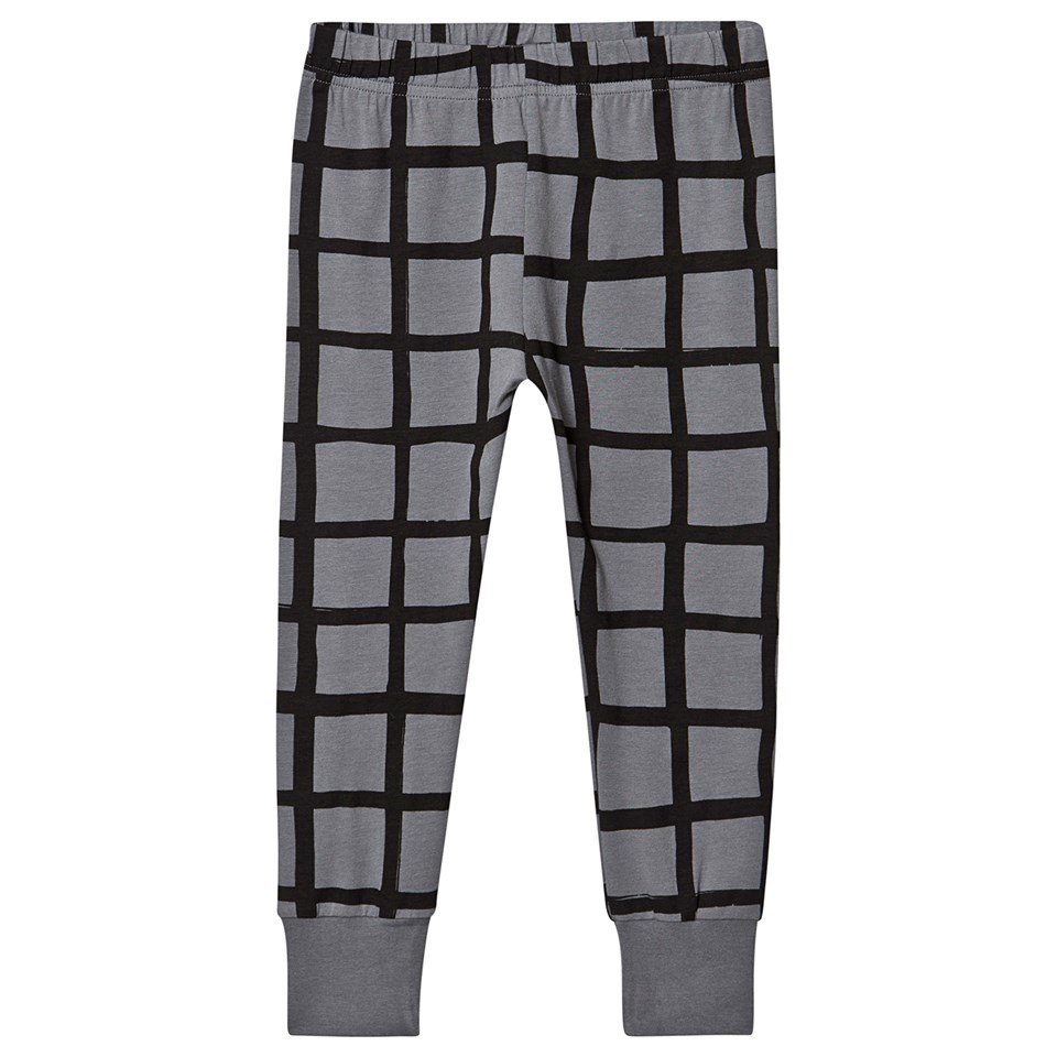 Beau Loves Charcoal Grid Slim Sweatpants with Cuffs