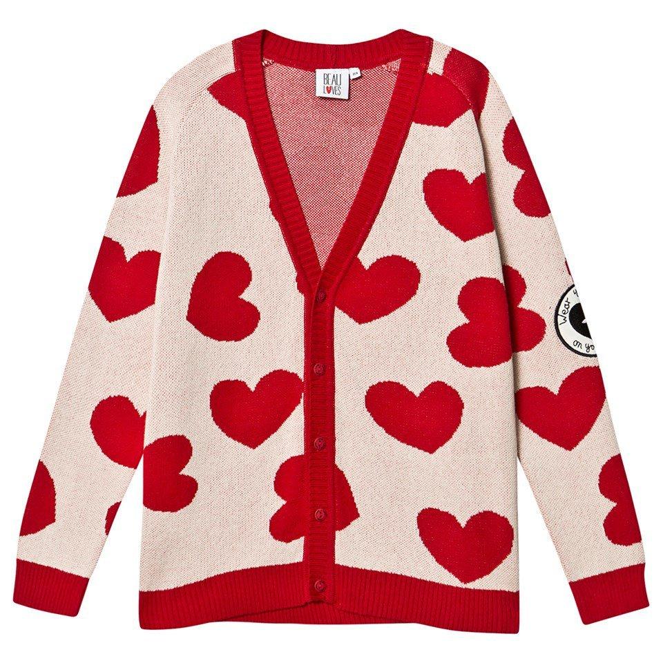 Beau Loves Jacquard Red Natural Hearts Knit Cardigan