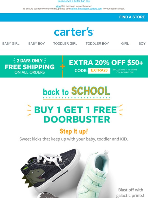 6048456a3a Carter's: Buy 1, Get 1 FREE shoes! 👟 | Milled