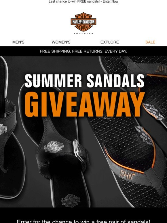 Harley-Davidson Footwear: SANDALS GIVEAWAY! Last Day to