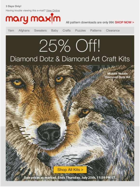 Mary Maxim: 25% Off Diamond Dotz and Diamond Art Kits | Milled