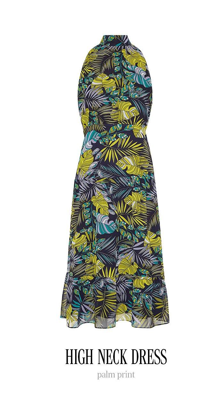 HIGH NECK DRESS palm print