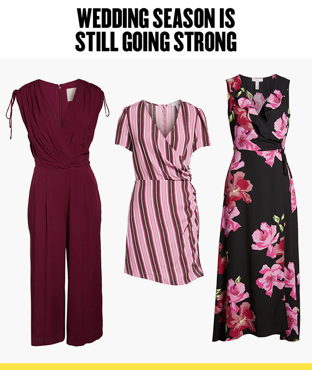 Wedding season is still going strong: wedding-guest dresses and jumpsuits at Anniversary Sale.