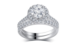 2.00 CTTW Classic Halo Diamond Bridal Set in 14K White Gold