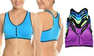 Angelina Wire-Free Front-Zip Racerback Seamless Sports Bra (6-Pack)