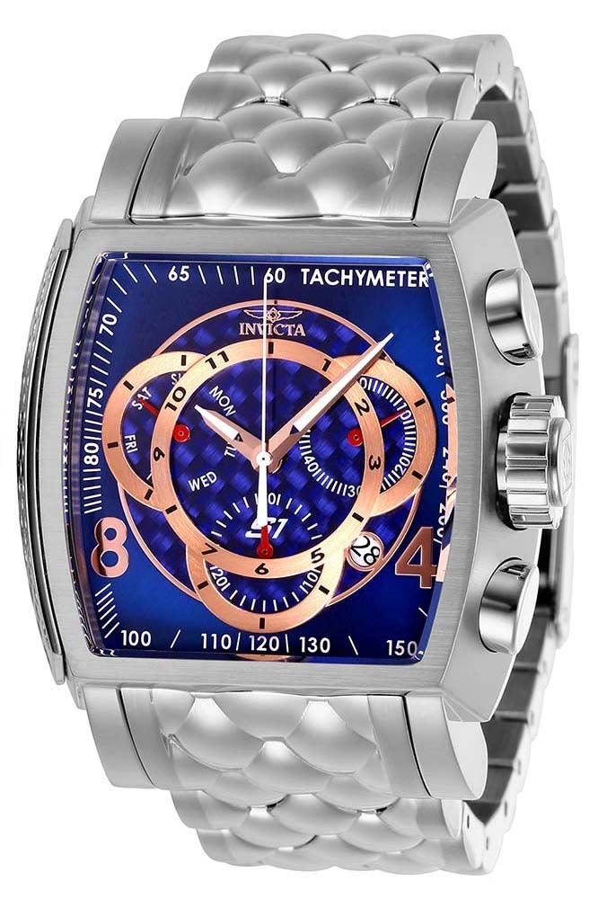 Invicta S1 Rally Mens Quartz 48 mm Stainless Steel Case Blue, Rose Gold Dial