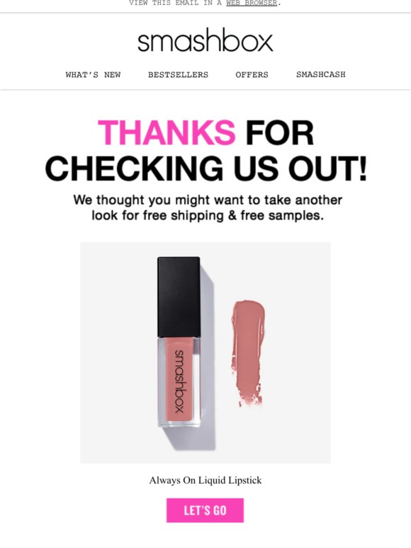 Smashbox: Get Always On Liquid Lipstick with free shipping