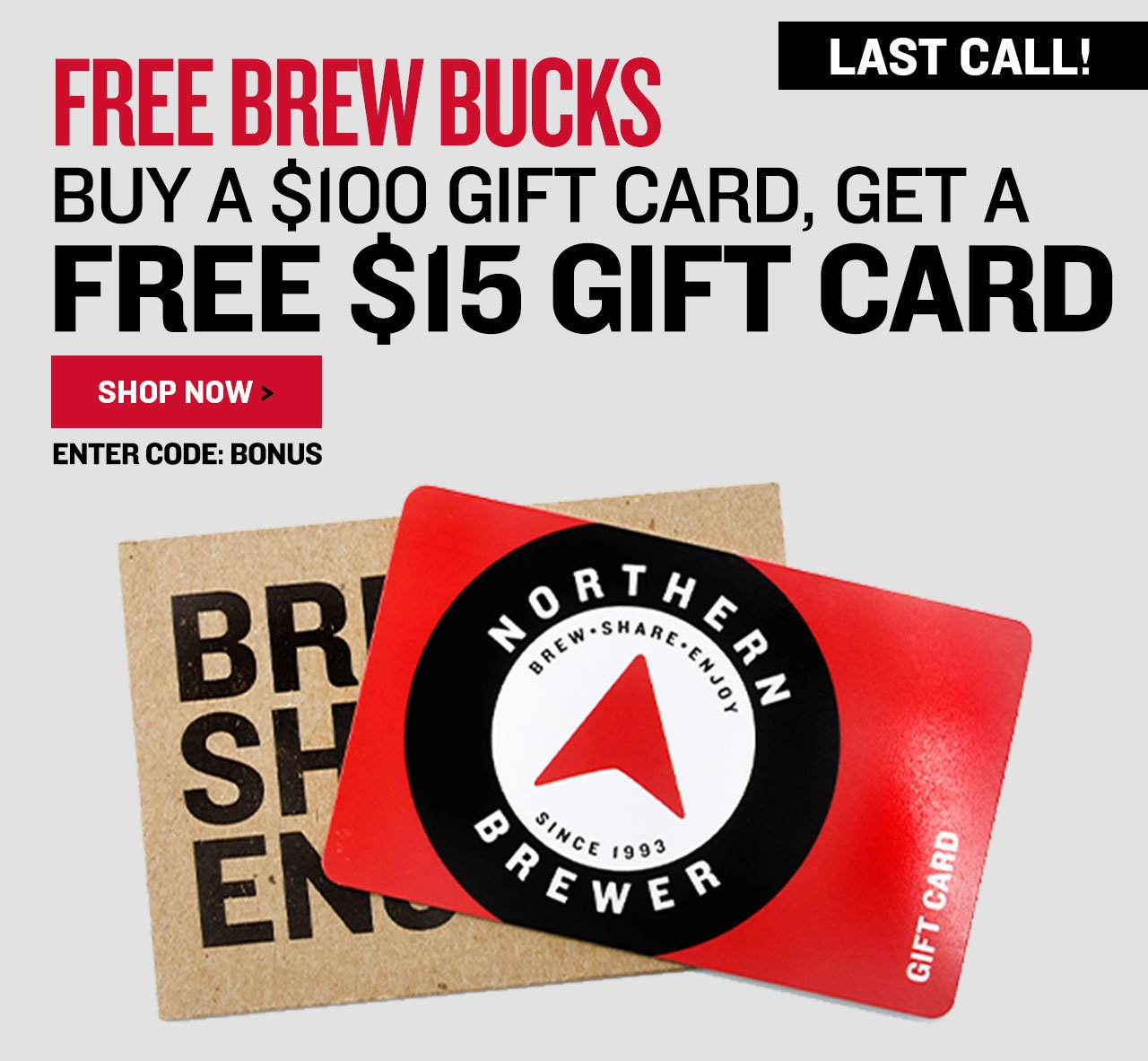 Free $15 Gift Card with $100 Gift Card Purchase. Promo Code: BONUS