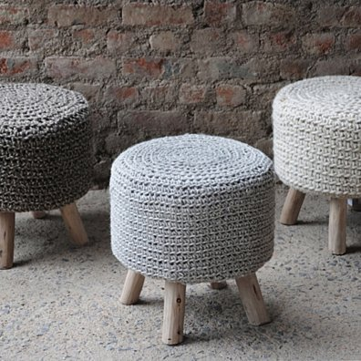 Ponelli Hand Knit Wool Fabric Artisan Pouf-stool