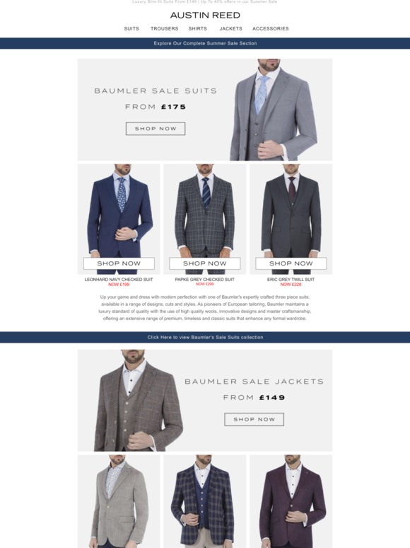 Austin Reed Up To 40 Off The Baumler Range Suits Shirts Jackets More Milled