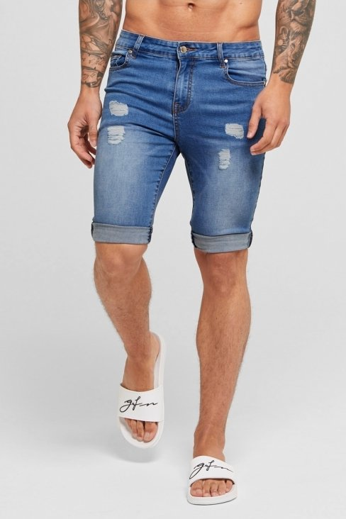 Blue Destroyed Denim Shorts