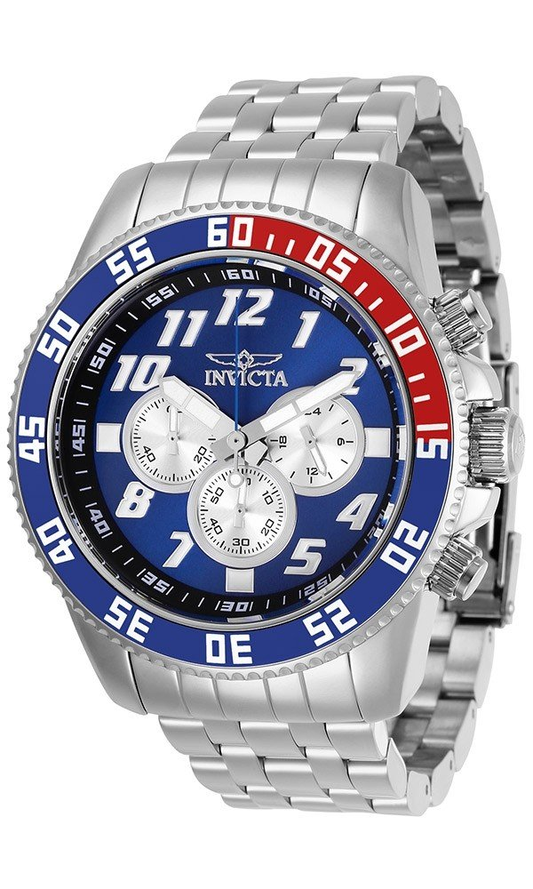 Invicta Pro Diver Mens Quartz 50 mm Stainless Steel Case Blue, Silver Dial