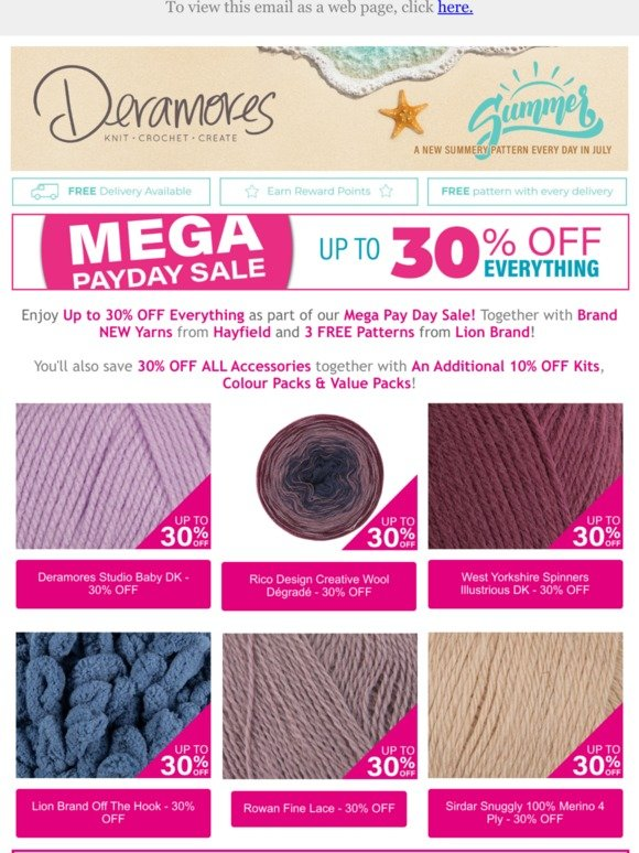 Deramores: 30% OFF Mega Payday SALE | NEW Lion Brand FREE
