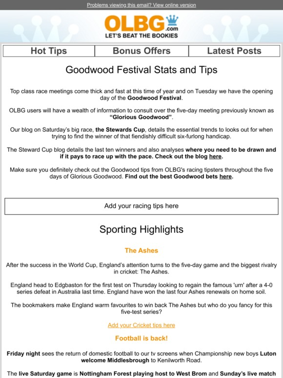 OLBG com: Goodwood Tips and Stats | Milled