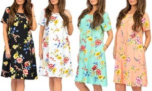 Women's Floral T-Shirt Dress with Pockets. Plus Sizes Available