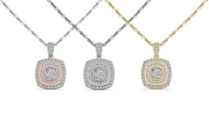 1/2 CTTW Diamond Cluster Double Halo Necklace in 14K Gold by De Couer