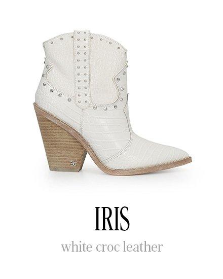 IRIS white croc leather