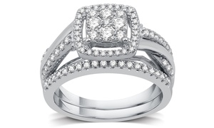 3/4 CTTW Diamond Cluster Bridal Ring Set in Sterling Silver (2-Piece)