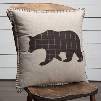 Rustic & Lodge Decor Wyatt Bear Appliqued Tan 18x18 Pillow