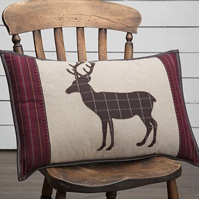 Rustic & Lodge Decor Wyatt Deer Appliqued Tan 14x22 Pillow