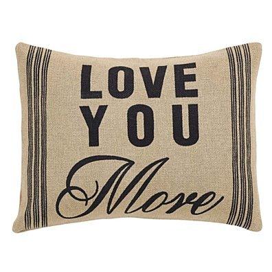 Farmhouse Decor Love You More Tan 14x18 Pillow