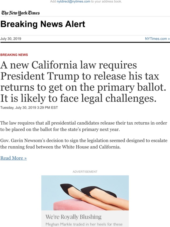 The New York Times: Breaking News: A new California law